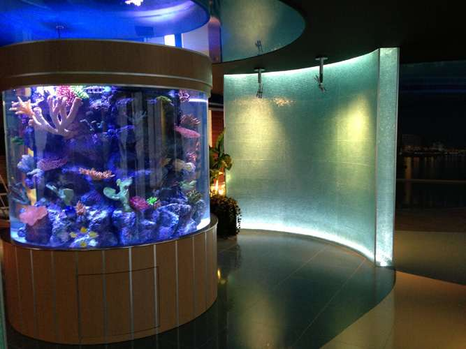 Seamless Cylinder Marine Aquarium - Overflow Tower and Synthetic Reef