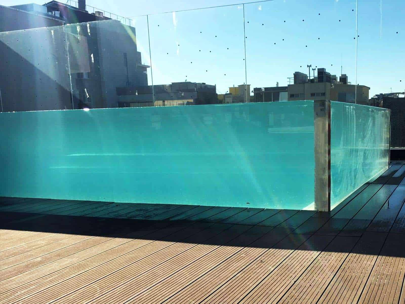 4 side transparent swimming pool acrylic panel installations for Swimming pool installation companies