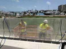Swimming pool window polishing