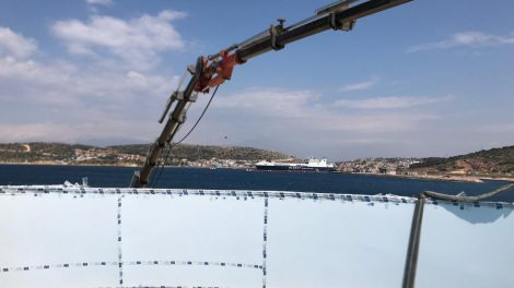 Pool Window Installation with Crane - Pool Window Installation with Crane