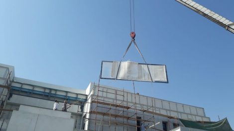Pool Panel Installation with a crane - Pool Panel Installation with a crane