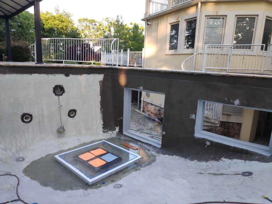 Swimming Pool Waterproofing, Concrete Rebates Repair and Side Windows Installation